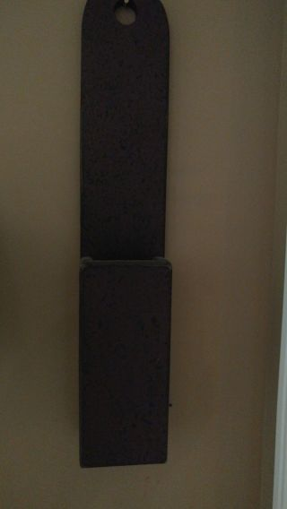 Primitive.  Colonial Burgandy And Black Distressedressed Match Or Pipe Holder photo