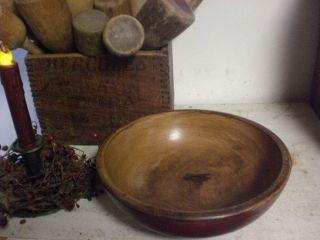 Primitive Red Wooden Dough Bowl - Wood Bowl photo
