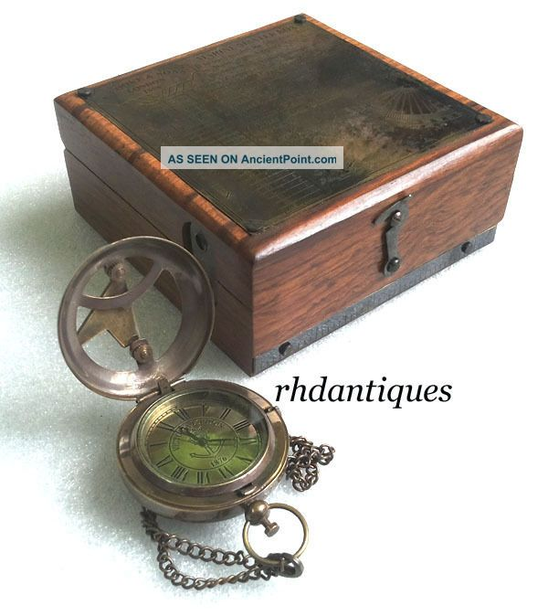 Vintage Replica Six Instruments Marine Master Box W Brass Necklace Watch Compasses photo