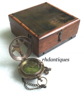 Vintage Replica Six Instruments Marine Master Box W Brass Necklace Watch photo