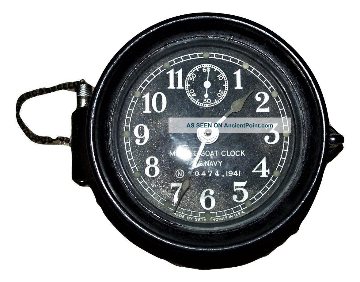 1941 Seth Thomas Mark 1 Boat Clock,  Black Bakelite Case - Ww2 - Family Estate Clocks photo