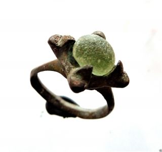 Ancient Bronze Ring With Glass Insert (491). photo