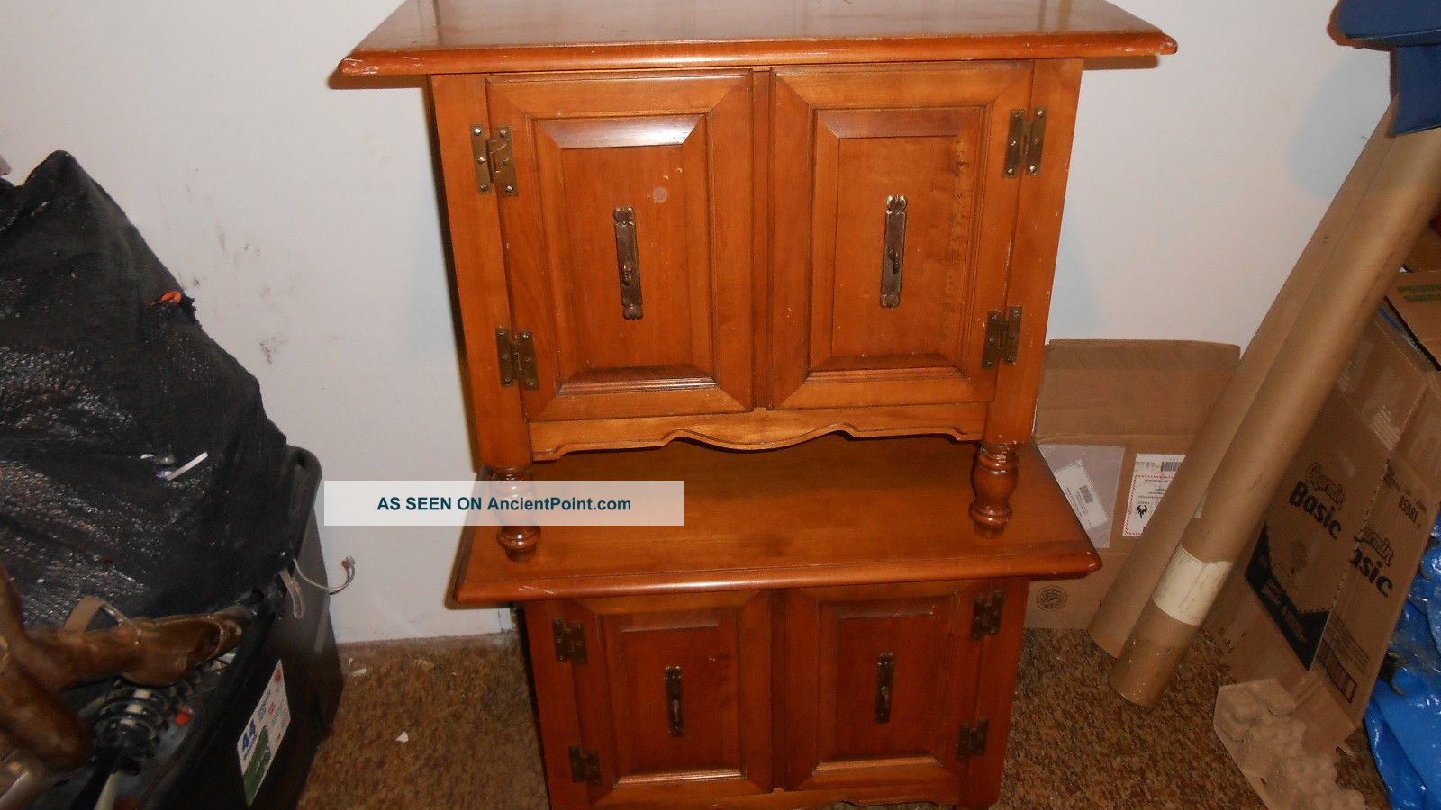 Vintage Tell City 48 Andover Hard Rock Record Cabinets Maple End Tables Rare Post-1950 photo