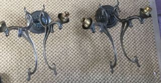 Antique Art Nouveau Bronze 2 Branch Wall Lights For Rewiring photo
