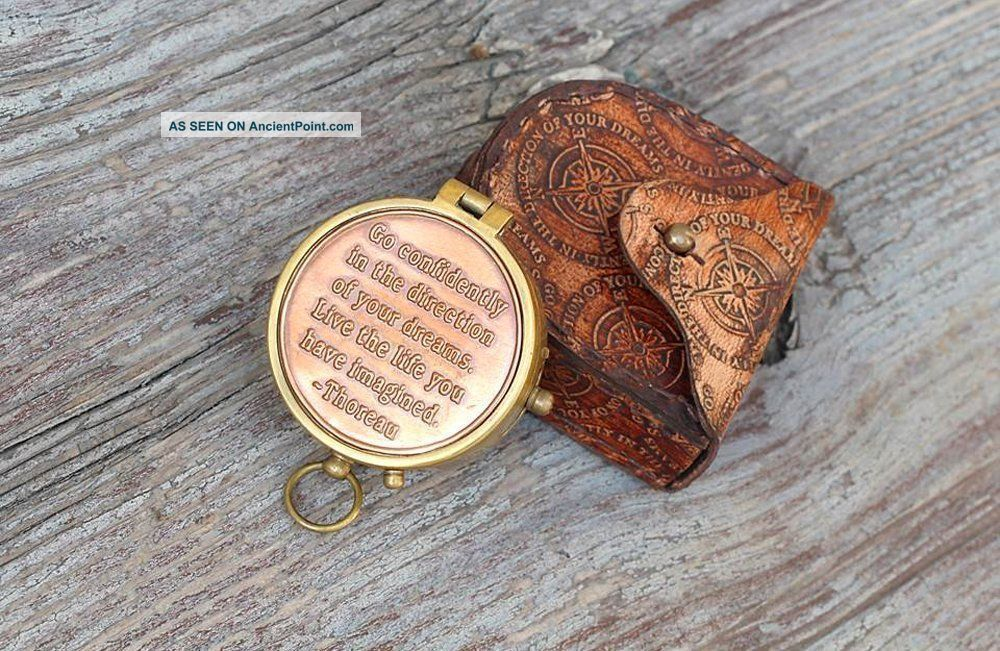 Nautical Thoreau ' S Go Confidently Poem Compass With Embossed Leather Case Compasses photo