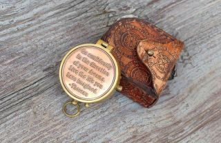 Nautical Thoreau ' S Go Confidently Poem Compass With Embossed Leather Case photo
