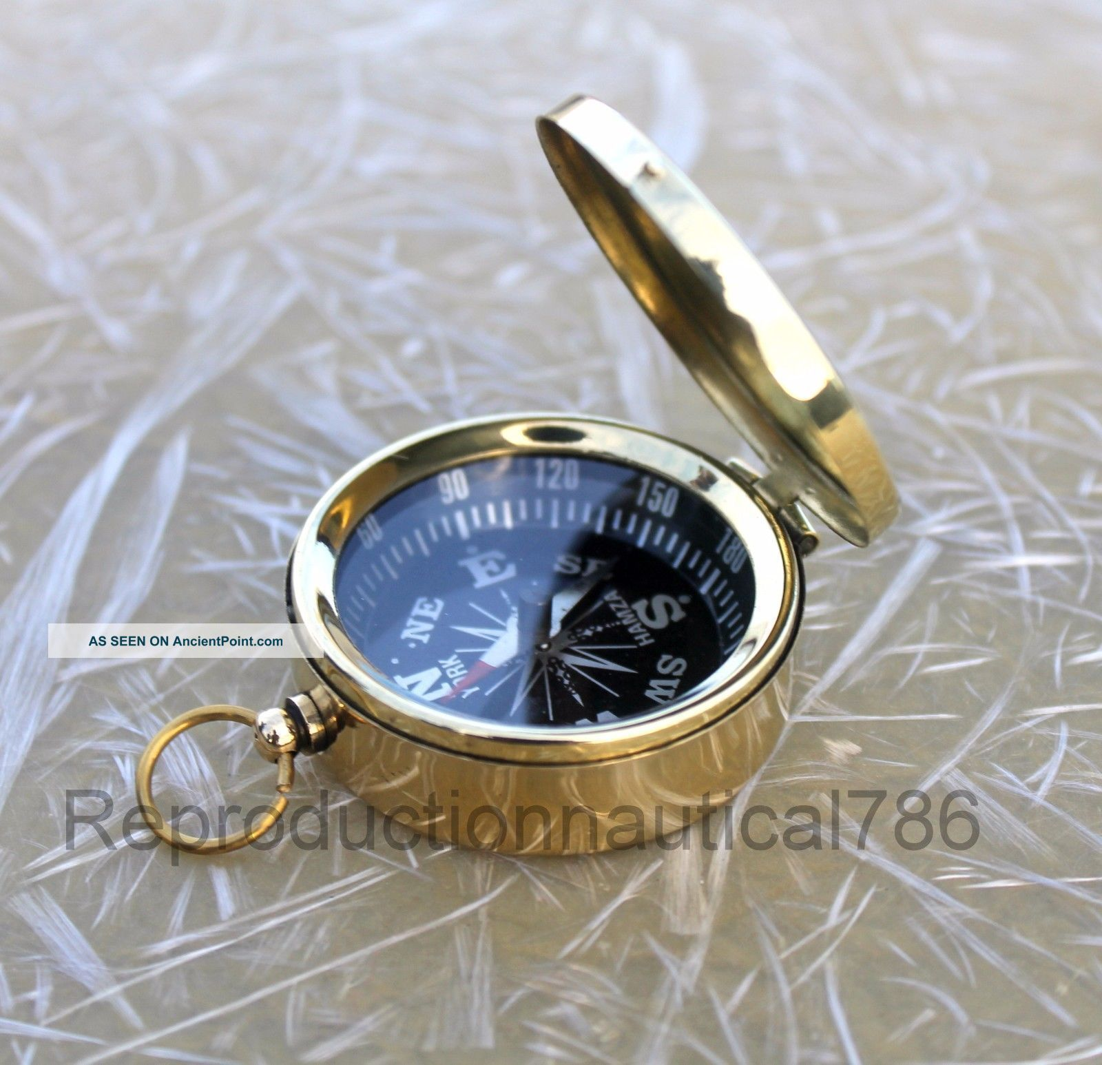 Nautical Brass Compass Maritime Handmade Vintage Pocket Compass Collectible Gift Compasses photo