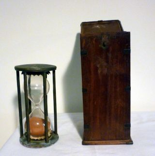 Marine Sand/hour Glass/,  Circa Early19th Century,  6 - Col.  Brass Stand,  Wood Case photo