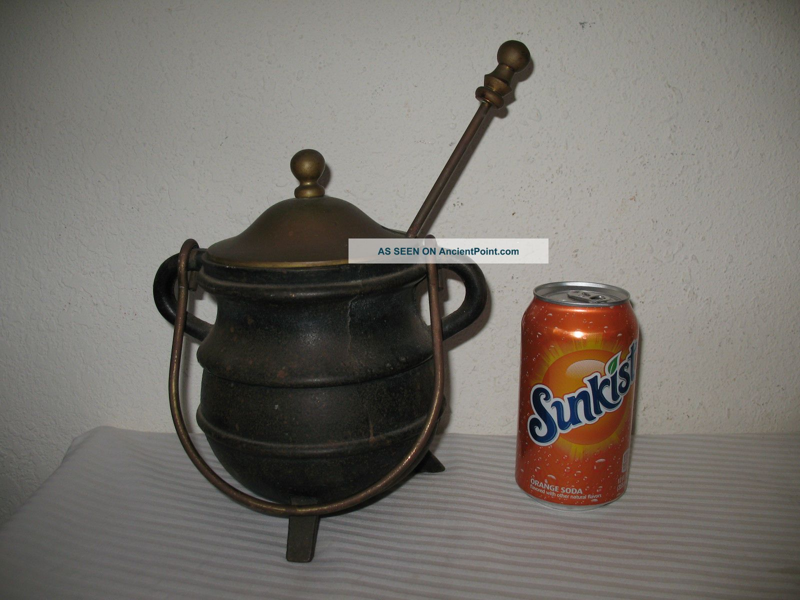 Cast Iron Fire Starter Smudge Pot Cauldron With Wand Brass Lid Vintage Antique Hearth Ware photo