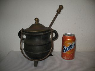 Cast Iron Fire Starter Smudge Pot Cauldron With Wand Brass Lid Vintage Antique photo