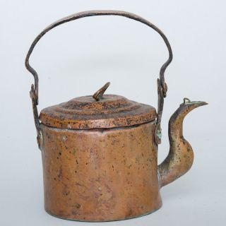 Antique 1800 ' S Copper Gooseneck Tea Kettle Dovetailed Tongue & Groove Bottom photo