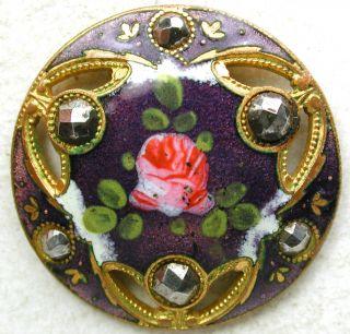 Antique French Enamel Button Pierced Purple W/ Rose & Cut Steel Accents 1 & 116