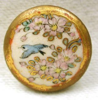 Antique Meiji Satsuma Button Bird & Colorful Flowers Design - 11/16