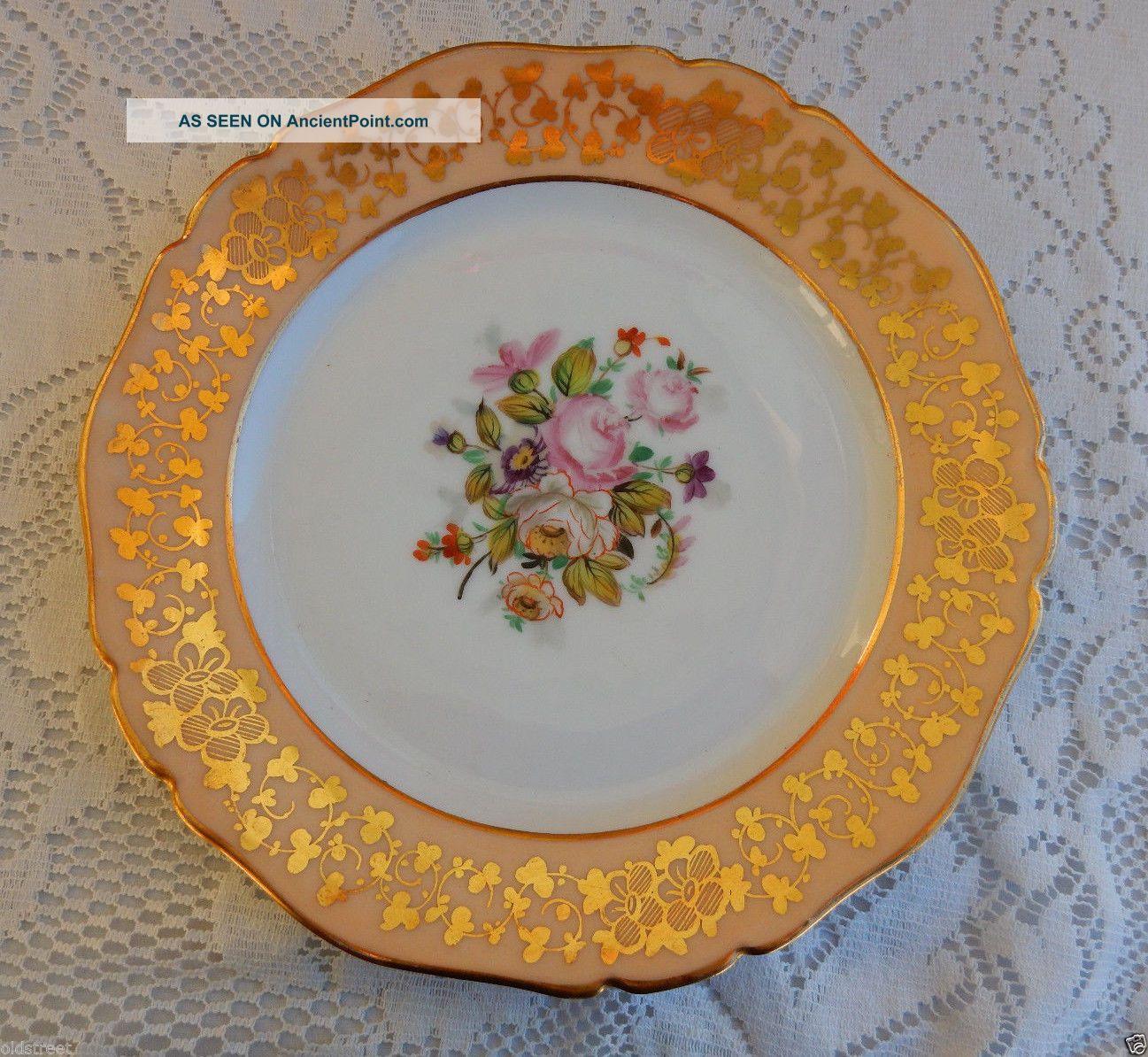 5 Antique Paris Porcelain Plates Peach Bands Hand Painted Flowers Gold Plates & Chargers photo