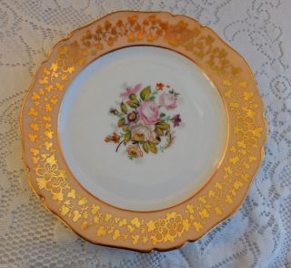 5 Antique Paris Porcelain Plates Peach Bands Hand Painted Flowers Gold photo