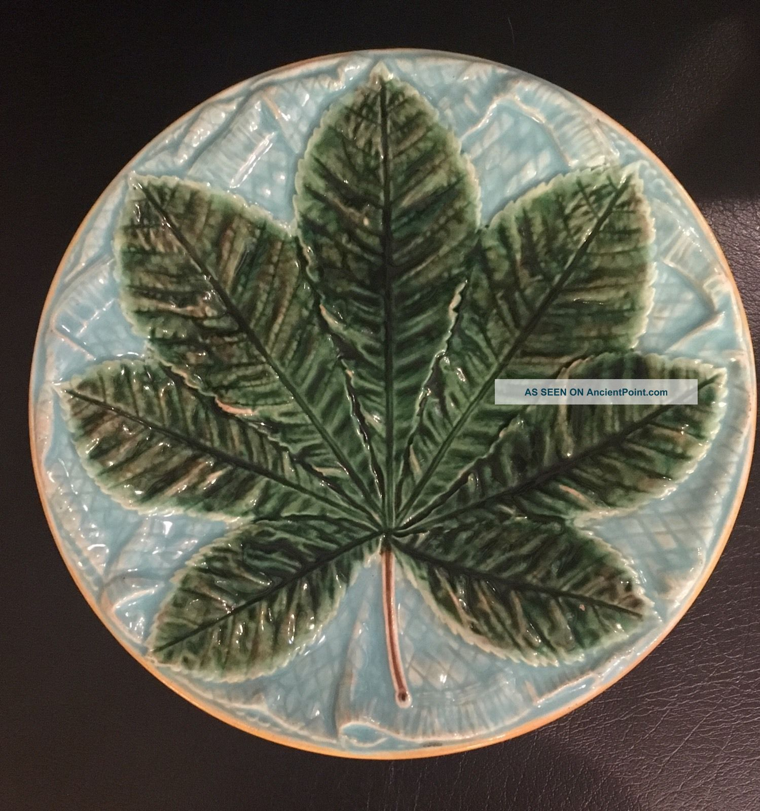 Antique 19th C.  Majolica Blue & Green Leaf Plate Plates & Chargers photo