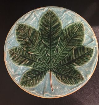 Antique 19th C.  Majolica Blue & Green Leaf Plate photo