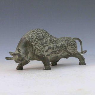 Chinese Bronze Hand - Carved Fierce Buffalo Statue M0005 photo