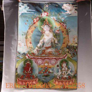 Tibetan Nepal Silk Embroidered Thangka Tara Tibet Buddha - - White Tara Gd4184 photo