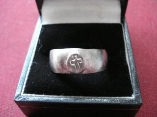 Byzantine / Medieval Silver Ring With ' Cross ' - - Detector Find photo