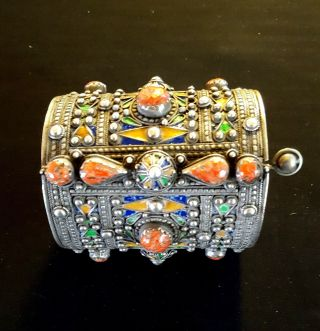 Morocco – Amazigh Solid Silver Berber Bracelet /cuff With Enamels & Co photo