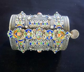 Morocco - Amazigh Berber Bracelet In Silver With Enamels And Coral photo