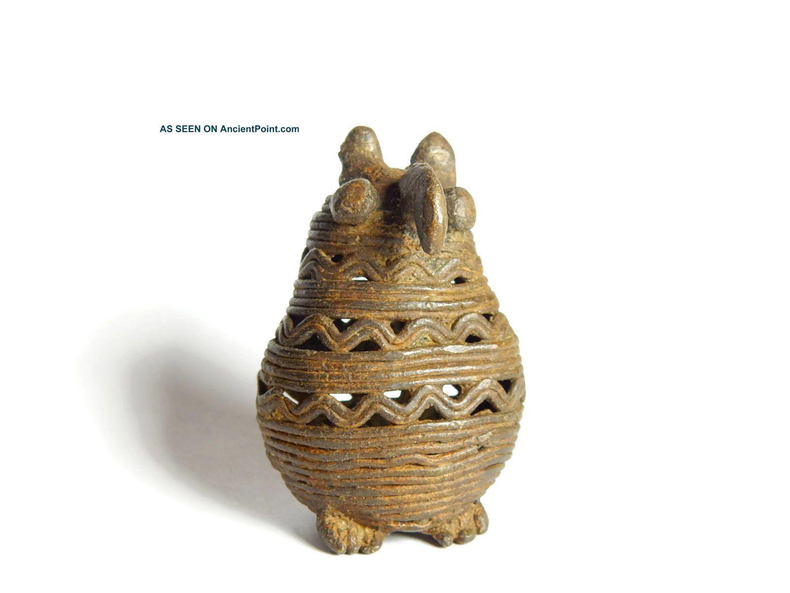 African Antique Cast Bronze Akan Ashanti Gold Weight - An Owl Sculptures & Statues photo