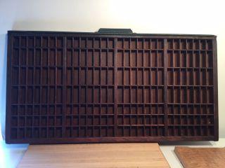 Vintage Hamilton Wood Printing Block Letterpress Drawer Shadow Box Tray 32x16.  5