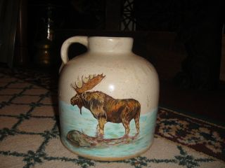Vintage Stoneware Pottery Whiskey Jug W/painted Elk Picture - Signed - Jug W/handle photo