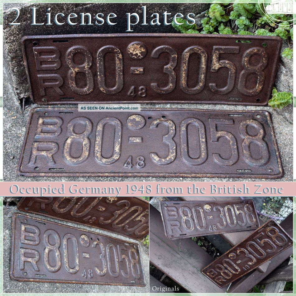 Rusty Vintage License Plates Of Occupied Germany 1948 British Headquater Br Nrw Mid-Century Modernism photo