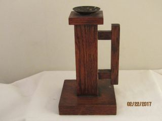 Hand Made Arts & Crafts Wooden Wood Candle Chamberstick Detroit Folk Art photo