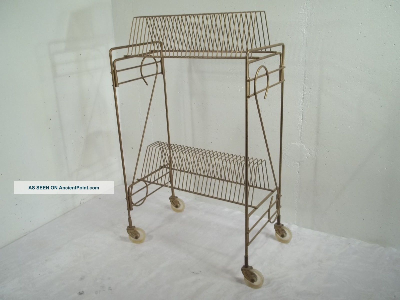 Vintage Mid Century Modern Record Rack Stand Cart Holder Holds Wheels Holds 58 Mid-Century Modernism photo