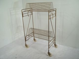 Vintage Mid Century Modern Record Rack Stand Cart Holder Holds Wheels Holds 58 photo