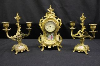 Antique French Rococo Clock & Garniture Set; Porcelain Inserts & German photo