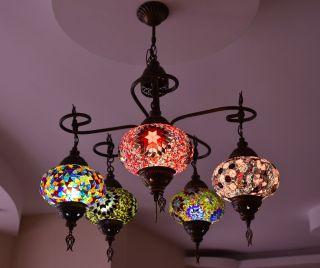 Turkish Handmade Mosaic Lamp Chandelier Five Balls Glass Multi Color Chandelier photo
