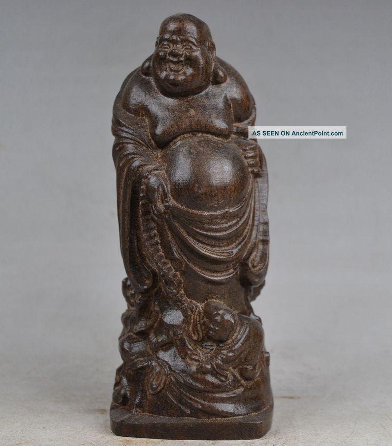 Delicate Chinese Agilawood Hand Carved Maitreya Buddha Statue Buddha photo