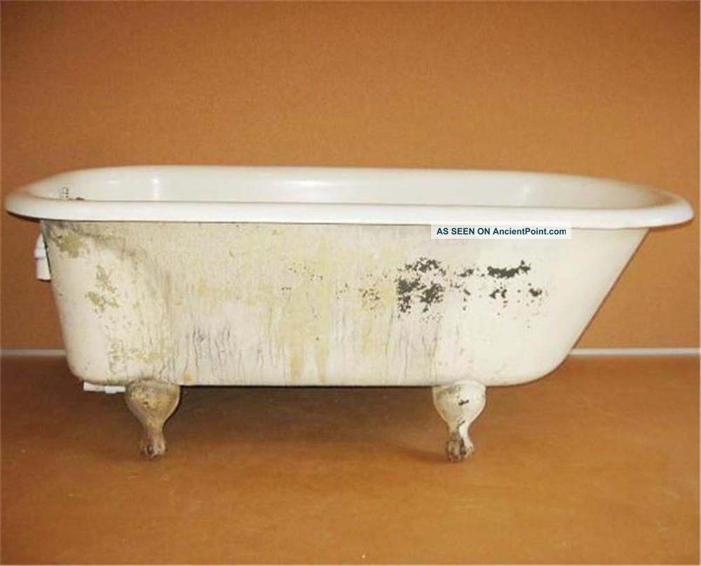 Old Antique Cast Iron 5 Foot Bath Tub Bathtub Ball And Claw Feet 30in Wide Bath Tubs photo