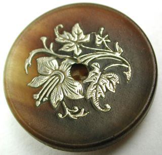Antique Ginger Horn Whistle Button W/ Silver Exotic Flower Inlay - 1