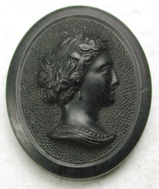 Antique Oval Shaped Horn Button Detailed Lovely Woman In Profile - 1