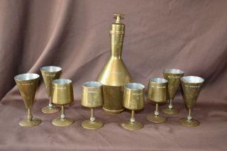 Antique Islamic Serbia Bosnia Brass Decanter W/ Cups Mkd Paris 1969 Na Zdravlje photo