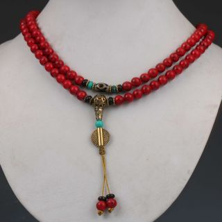 Chinese Collectibles Handwork Old Red Coral Bead Necklace G537 photo