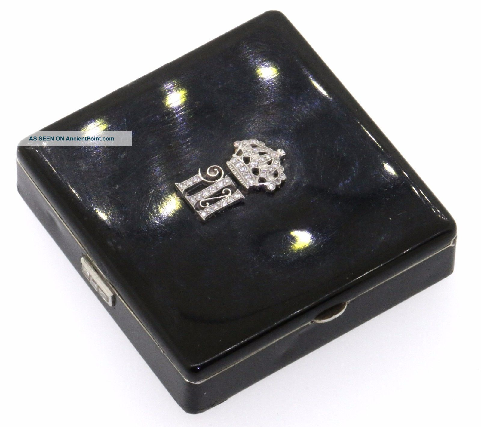 Cartier London Sterling Silver.  25ct Vs Diamond Black Enamel Compact Makeup Box Boxes photo