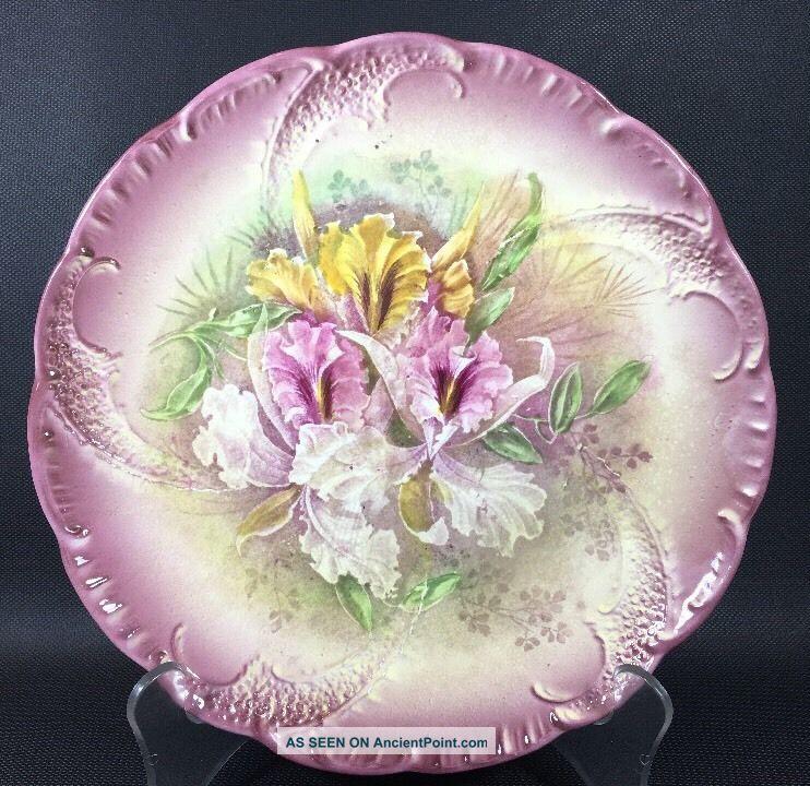 Antique Iris Floral Plate,  Franz Anton Mehlem Royal Bonn Germany 9 1/2