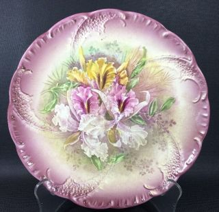Antique Iris Floral Plate,  Franz Anton Mehlem Royal Bonn Germany 9 1/2