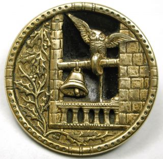 Antique Brass Button Detailed Owl In A Bell Tower Design - 1 & 3/16