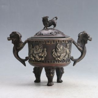 Chinese Bronze Handwork Incense Burner & Unicorn Lid W Qianlong Mark Py0135 photo