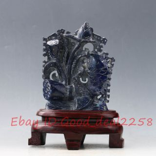 100 Natural Lapis Lazuli Hand - Carved Fish&lotus Statue Xz368 photo