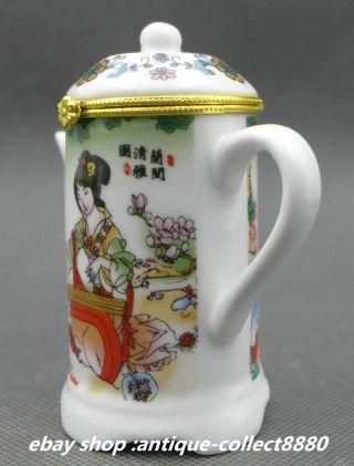 91mm Chinese Colour Porcelain Woman Guzheng Music Teapot Toothpick Box photo