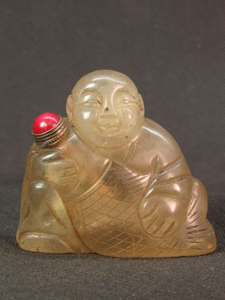 Chinese Boy Fish Carved Nature Quartz Crystal Snuff Bottle photo