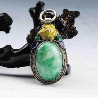 Exquisite Cloisonne Inlaid Green Jade Handwork Pendant G921 photo